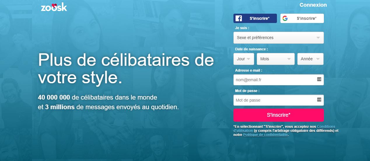 Zoosk, un site de rencontres qui exploite votre compte Facebook.